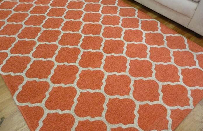 Flat Weave Orange Area Rug