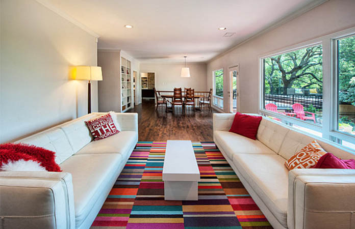 For Living Rooms That Have A Smaller Width Add Splash Of Color With This Beautifully Patterned Room Rug The Design Host