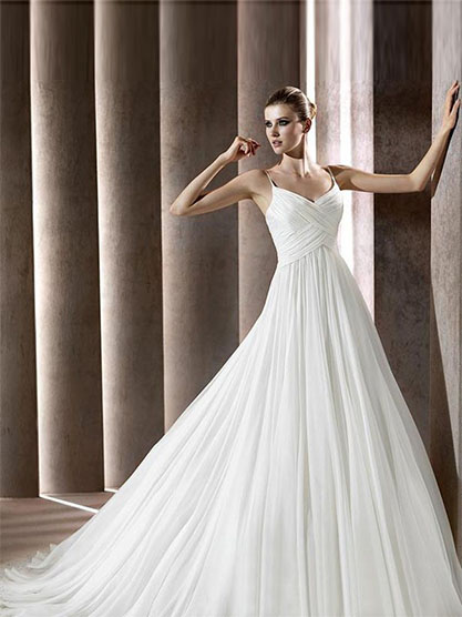 A-line Empire Waist Pleated Wedding Gown