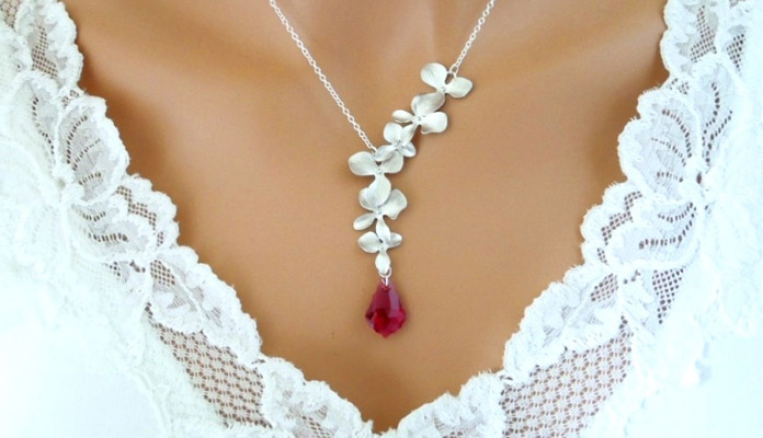 Beautiful Orchid Necklace with Ruby Color Swarovski Crystal