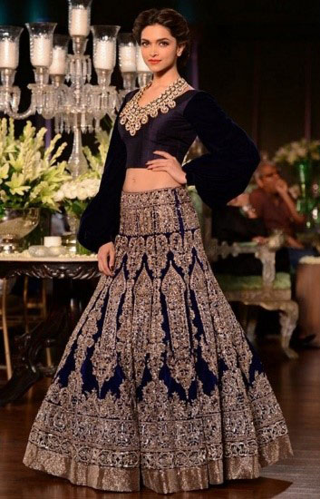 Blue Embroidered Wedding Dress
