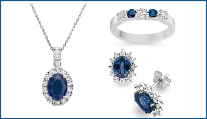 Blue Sapphire & White Diamond Bridal Jewelry Set