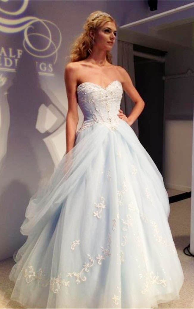 Blue feathered wedding dress