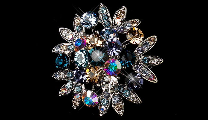 Bridal Brooch with Multicolor Rhinestones