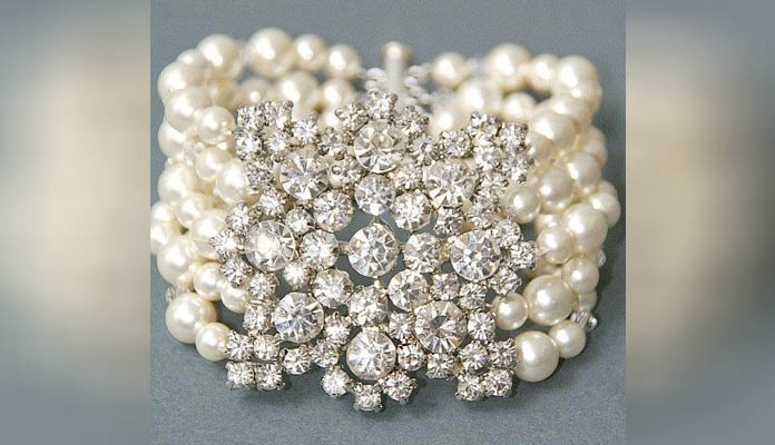 Bridal Cuff Bracelet with Pearls & Diamonds