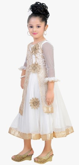 Classy Embroidered Cream and Golden Party Dress