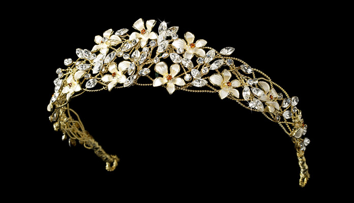 Floral Bridal Tiara in Gold & Crystals