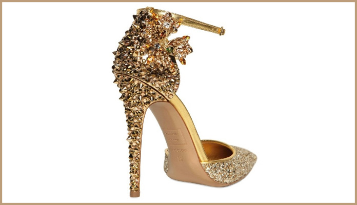 Glamorous Glittering Golden Shoes