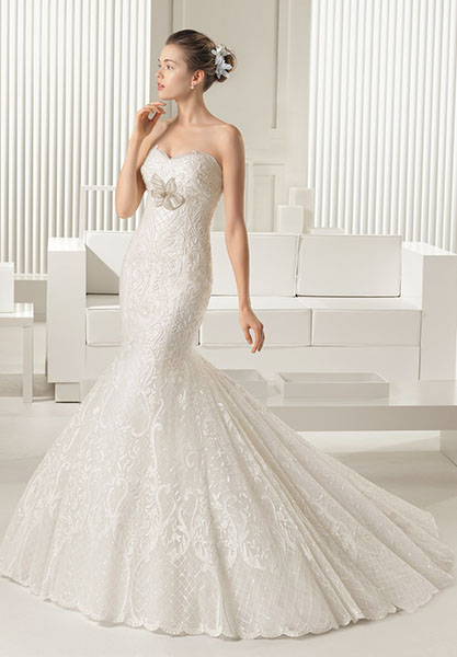 Mermaid Sweep Train Strapless Ivory Wedding Dress