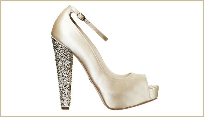 b1490acb8bb9c5 Peep Toe Bridal Shoes with Embellished Heels