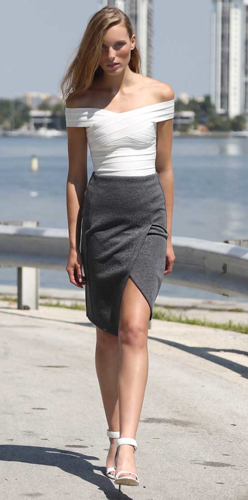 Pencil skirt and off-the-shoulder crop knit sweater