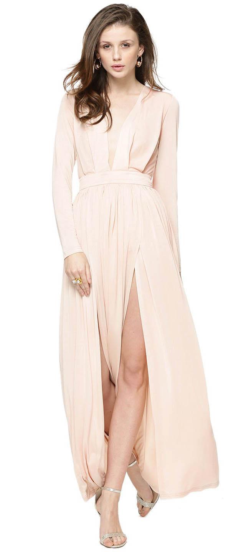 Pink Plunge Prom Dress