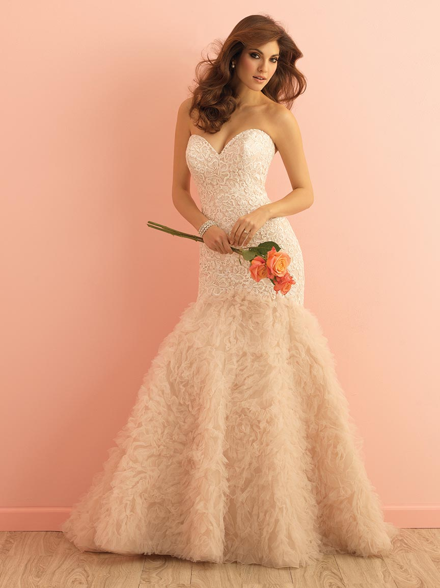 Pink Ruffled Organza Romantic Wedding Dress