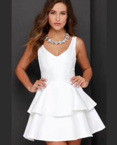 Plain White Double Frilled Party Dress for Teen Girls