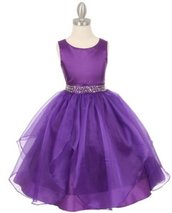 Purple Organza Party Dress for Teen Girls