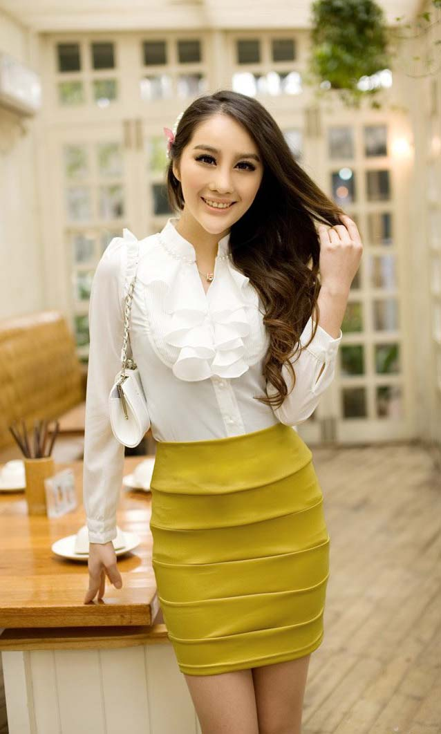 Ruffled Shirt With Pleated Skirt