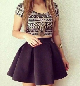 Short Pleated Skirt with an Attractive Crop Top
