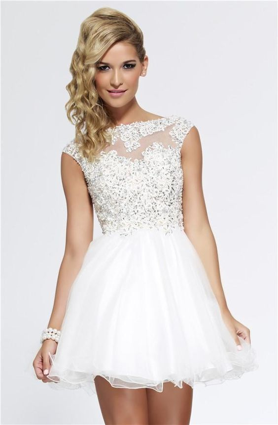 Short White Prom Dress with Beaded Lace