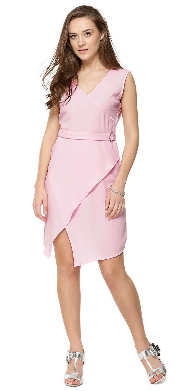 Short Wrap Over Tie Pink Dress