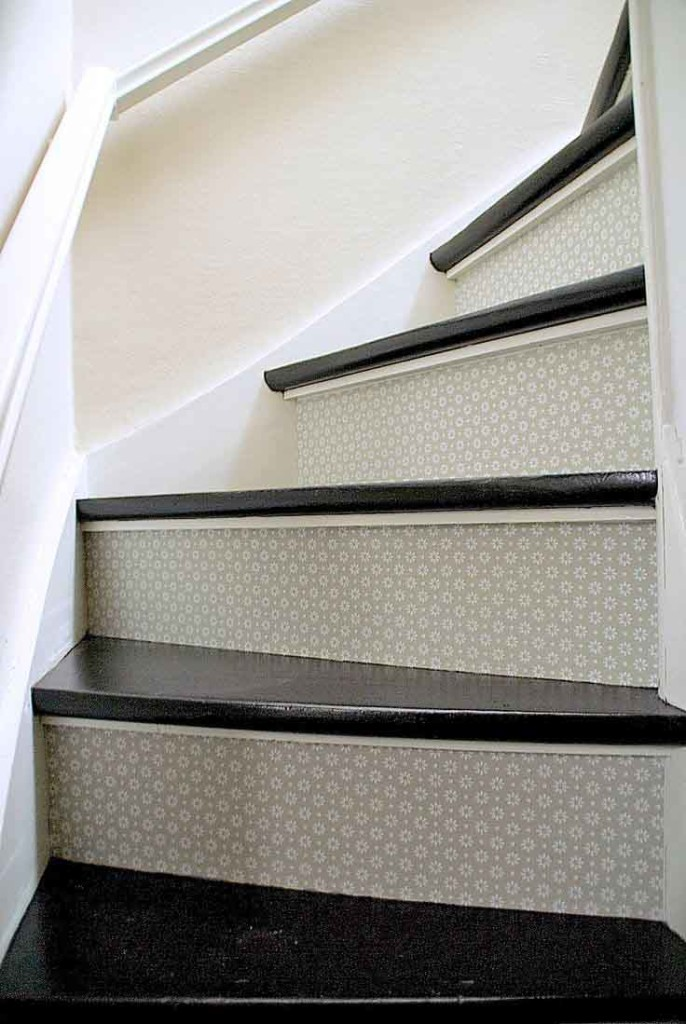 Textured Wallpaper on Stairway Panel