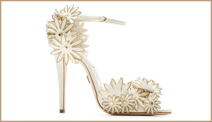 White & Golden Stilettos with Unique Floral Design.