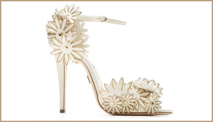 White & Golden Stilettos with Unique Floral Design.