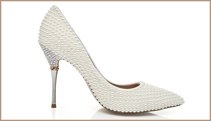 White Pointed Toe Bridal Shoes with Pearls