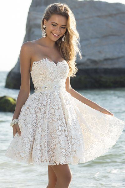 White Prom Dress in Off-Shoulder Style