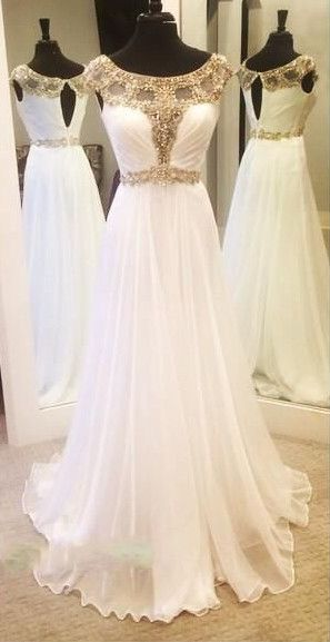 White Prom Dress with Golden Work