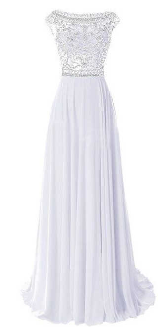 White Prom Dress with Silver Thread & Beads