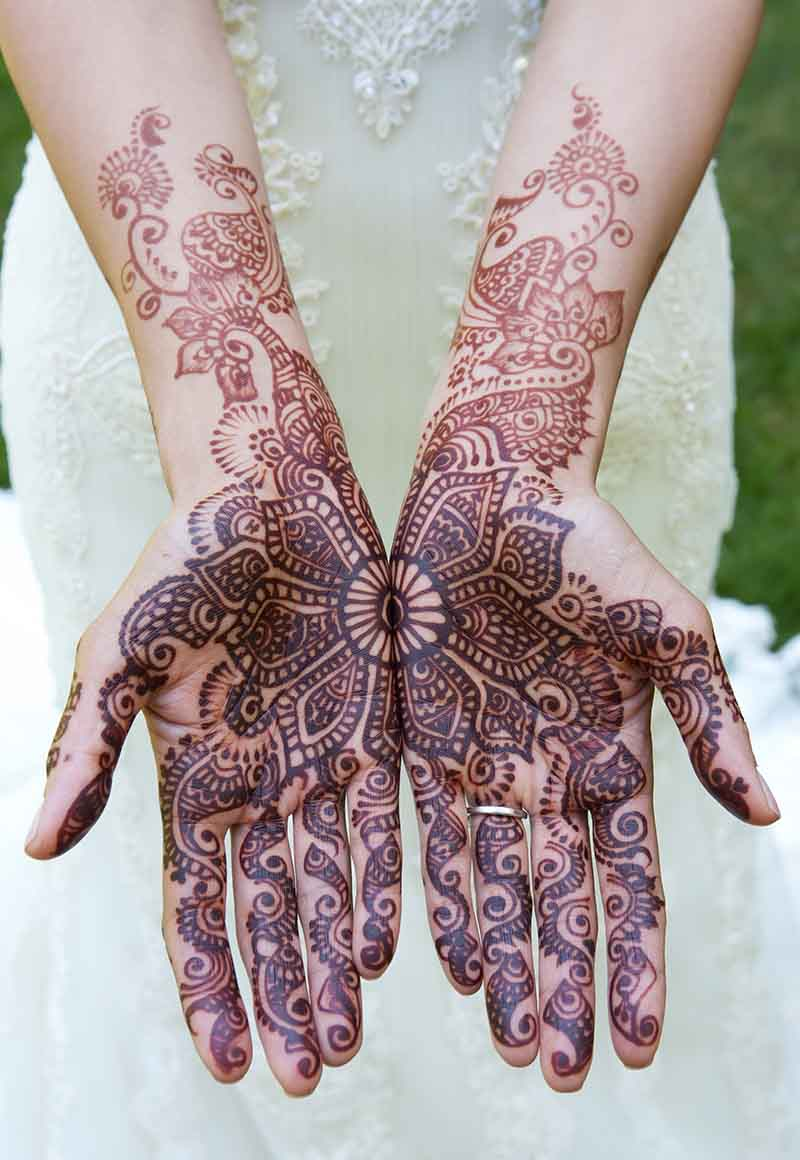 The best mehndi designs for hands livinghours -  There Can Be Seen Other Details Like Curves Flowers Petals Cones Free Spaces Shading And Intricate Details Of Mehndi Designs In Arabic Style