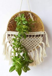 macrame basket plant hanger
