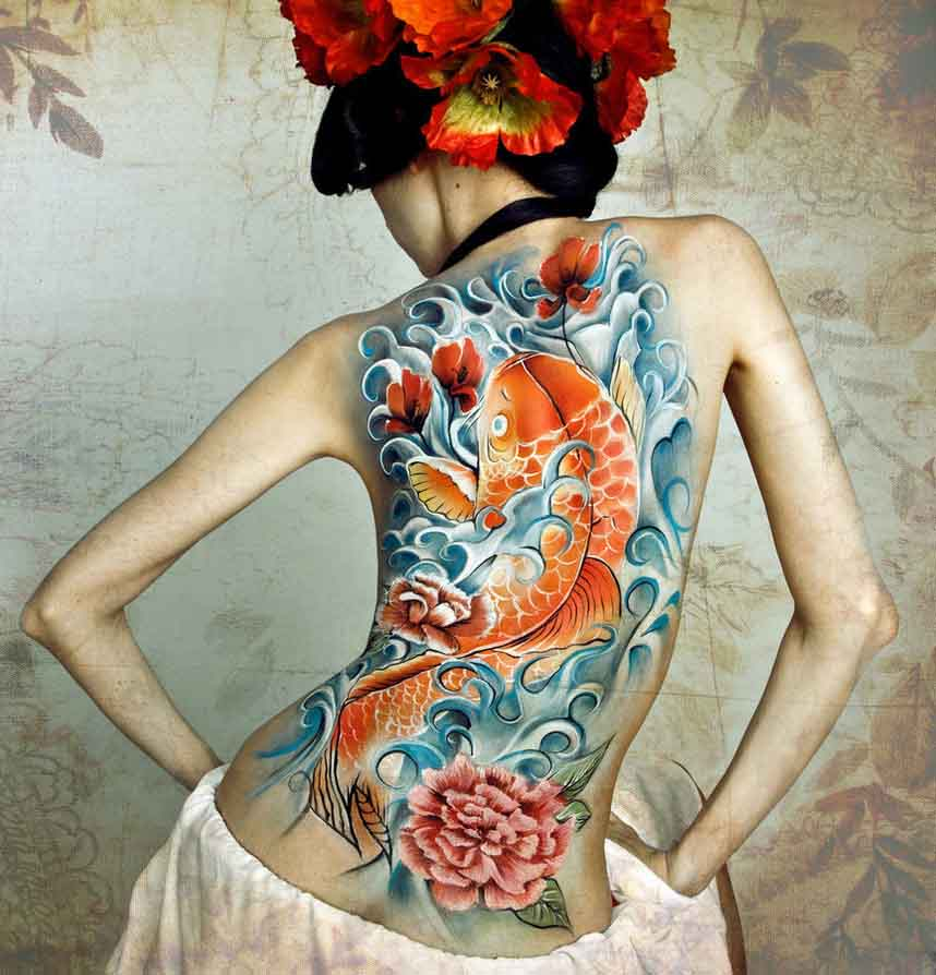 Colorful Koi Tattoo for Back