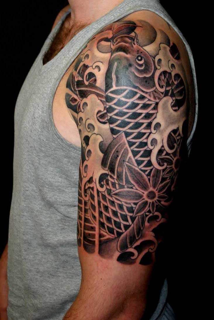 Intricate Black Koi Tattoo