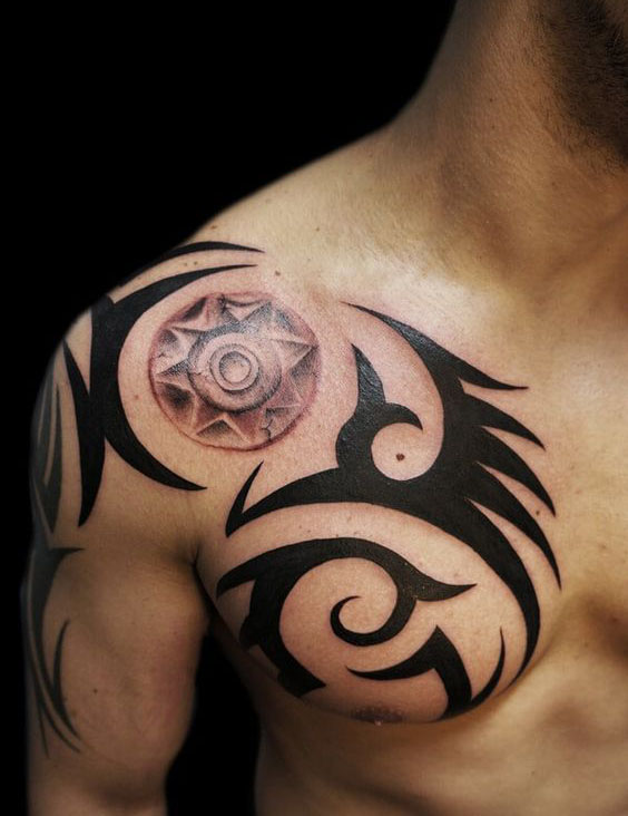 111525abf The Sun. The Sun This Polynesian-themed tribal shoulder tattoo ...