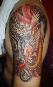 COLORFUL SNAKE & DRAGON TATTOO