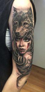 Woman & Wolf Tattoo Design