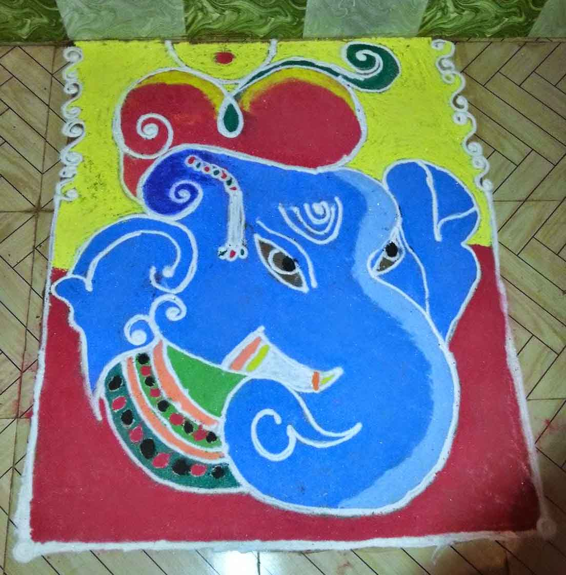 Beautiful ganesh ji rangoli