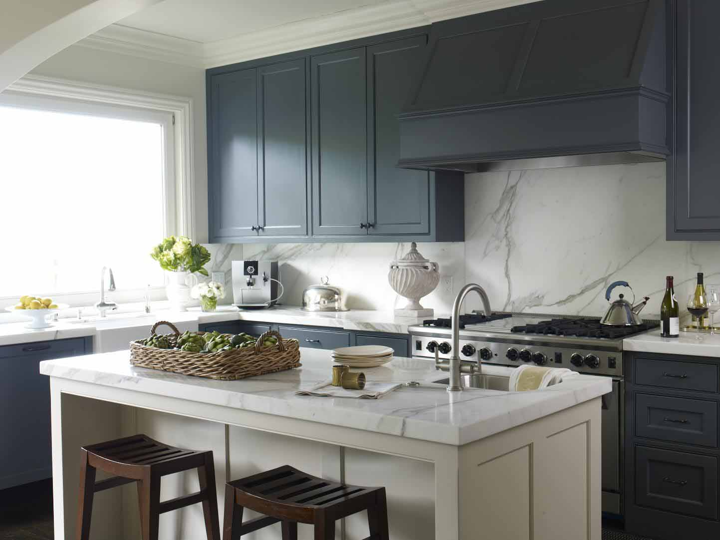 Blue Cabinet With White Kitchen