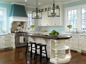 Blue white kitchen with iron lantern