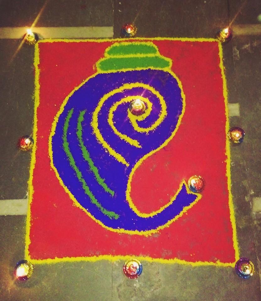 Bright Ganesha Rangoli