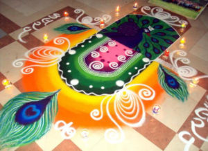 Colorful Janmashtami Rangoli Design