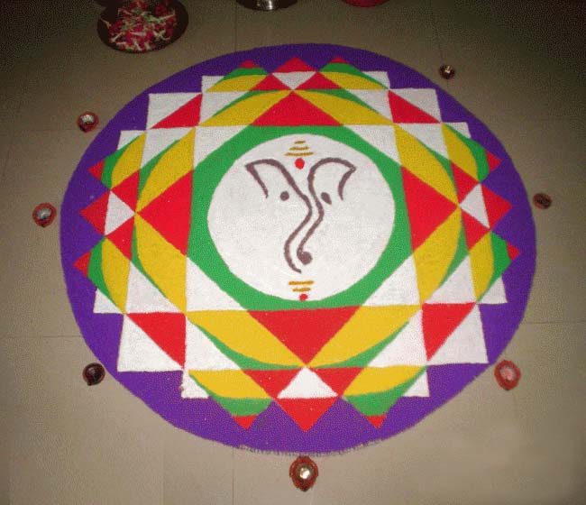 Colorful ganesh rangoli pattern