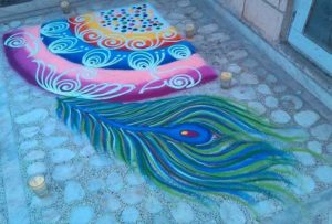 Crown of Krishna Rangoli Design