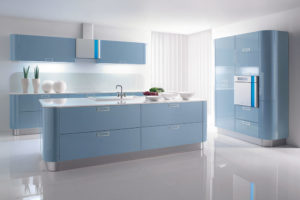 Laminated Pale Blue Kitchen