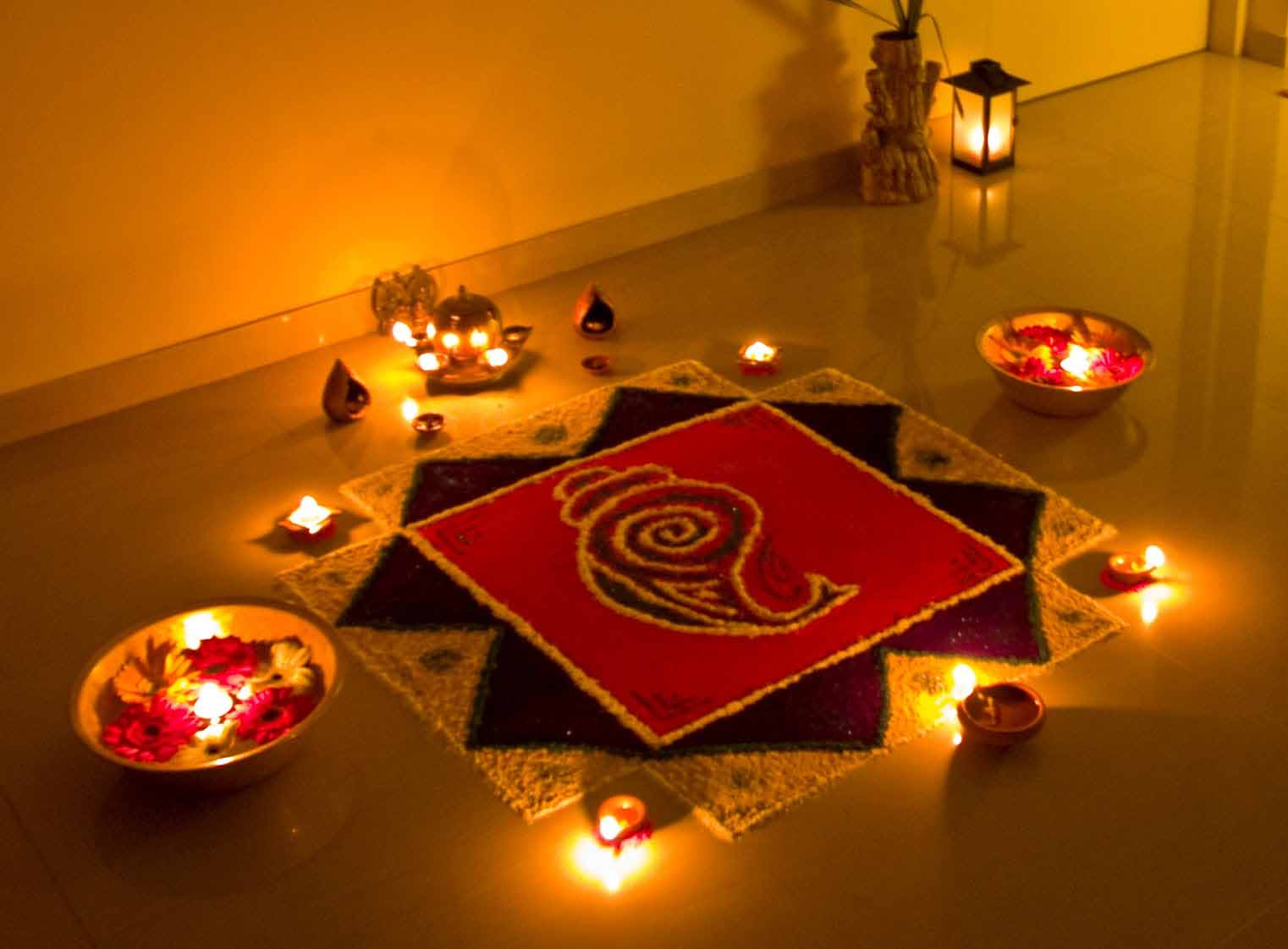 Lightening rangoli of Ganesh Ji