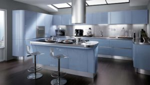Modern sleek blue kitchen design