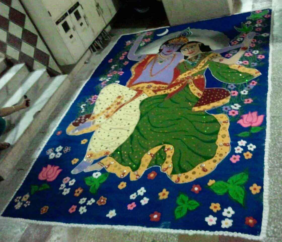 Krishna Rangoli Designs for Janmashtami | LivingHours for Rangoli Designs With Theme Go Green  45gtk
