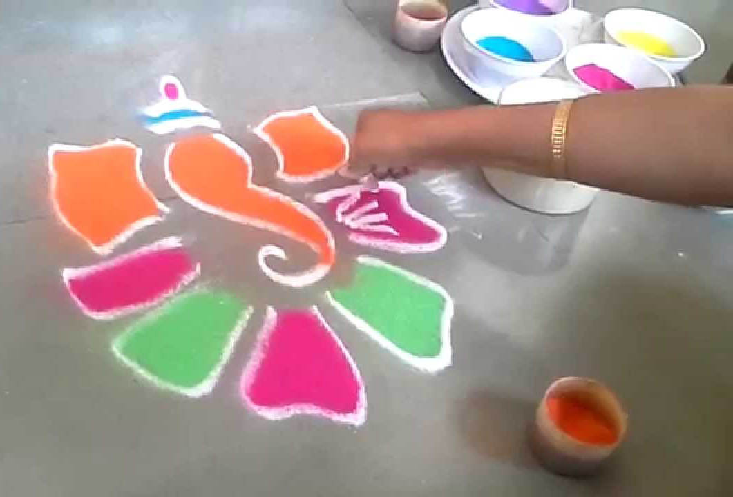 Simple ganesh rangoli