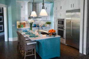 Turquoise blue kitchen